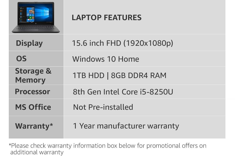 HP 15 Intel Core i5 8th gen 15 6-inch FHD Laptop (8GB/1TB HDD/Windows 10  Home/2GB Graphics/Natural Silver /2 04 kg), 15q-ds0004tx